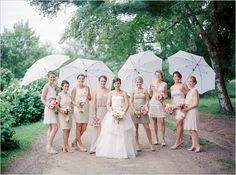 Mismatched Bridesmaid Dresses in Champagne | Camrose Hill Flower Farm Wedding