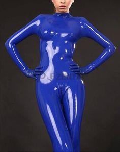 ハンサム 上質ブルー ラテックスキャットスーツ [#JP519866] - 17,500円