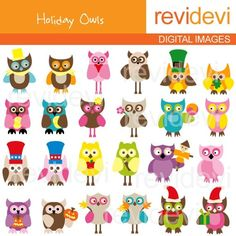 Holiday Owls Clipart 07160.. Instant download by revidevi on Etsy, $5.95