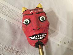 Red Devil Vintage Painted Paper Mache Noise Maker Halloween Mardi Gras