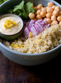 Lemon-scented Quinoa Salad Recipe - 101 Cookbooks   (the tahini dressing is also good with baked falafels or as a veggie dip)