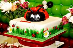 Adorable ladybug birthday cake  #ladybug #cake