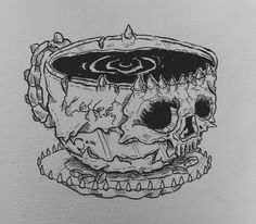 Coffee Skull. Dark Artwork, Skeletons, Logo Design Inspiration, Psychedelic, Skulls, Horror, Ink, Coffee, Tattoos