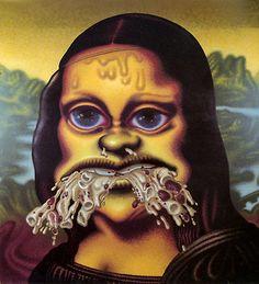 Peter Saul ~ Mona Lisa throws up macaroni, 1995