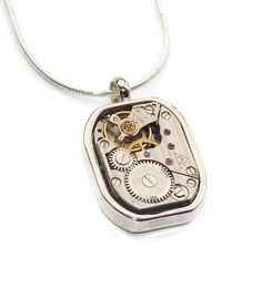 Mens Steampunk Upcycled Watch Movement Necklace Vintage Watch Movements Fathers Day Gifts #necklace #gym