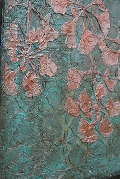 close up of my textured gingko leaf painting. Esther Orloff