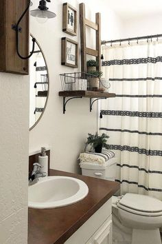 Looking for for inspiration for farmhouse bathroom? Check out the post right here for unique farmhouse bathroom pictures. This particular farmhouse bathroom ideas will look wonderful. Diy Bathroom Decor, Bathroom Interior, Bathroom Organization, Bathroom Theme Ideas, Bathroom Shower Curtains, Bathroom Storage, Bathroom Cabinets, Bathroom Inspiration, Bathroom Mirrors