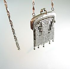 Silver Mesh Coin Purse Necklace Long Chain Kiss by bohemiantrading, $77.00
