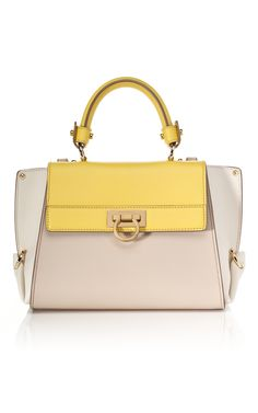 Pale yellow is the new neutral. (Ferragamo small tri tone sofia tote)