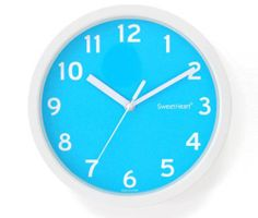 Noiseless Silent Smooth Home Room Interior Color Wall Clock Blue