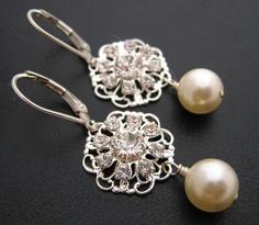 Beautiful Swarovski Filigree, Pearl and Sterling Silver Earrings