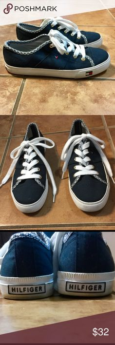 Tommy Hilfiger Tennis Shoes-Size 6 1/2 M. Tommy Hilfiger Tennis Shoes-Size 6 1/2 M. Only worn one time. They're too big for me. In great condition! Tommy Hilfiger Shoes Sneakers