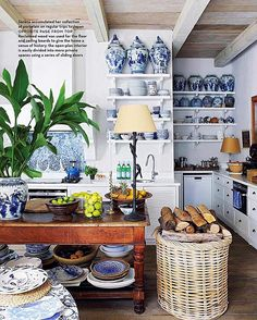 This is a lovely photo taken of my kitchen in Cape Town by the magazine Conde Nast  @houseandgardensa . The caption is slightly wrong as I have collected the blue and white plates and bowls everywhere I go, for over 35 years ,but my favourites are the Japanese bowls I use everyday. I love Japanese ceramics of every kind . Old and new. The kitchen server is an old ironing table from Argentina with the required burns where the hot iron was put down .. I like worn old used things .. Which is…