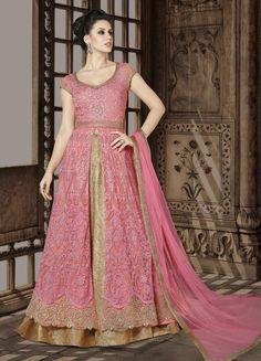 Pink Kurti Style Net Lehenga Choli with Dupatta Lehenga Choli, Brocade Lehenga, Lehenga Style, Silk Lehenga, Anarkali Dress, Anarkali Suits, Indian Anarkali, Long Anarkali, Sharara Suit