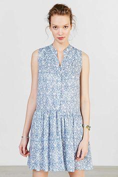 Ecote Printed Drop-Waist Shirt Dress