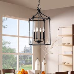 Beatriz 4-light Black Classic Iron Hanging Lantern Chandelier (Black, Iron, Lantern Chandelier)