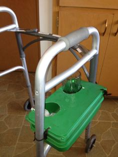 Walker beverage carrier designed by a home health client who used an empty wipes container