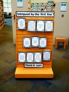 Don't Judge a Book by its Cover…But What about the First Line?: A Teen Library Display – The Magpie Librarian: A Librarian's Guide to Modern Life and Etiquette Middle School Libraries, Elementary Library, Library Lessons, Library Books, Teen Library Space, Library Week, Library Humor, Future Library, Teen Library Displays