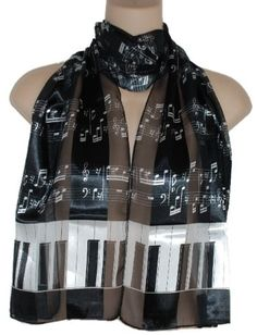 ! Piano Keys and Music Notes Satin Stripe scarf