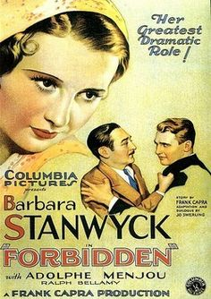 "Movie Poster for ""Forbidden"" starring Barbara Stanwyck (1932)"