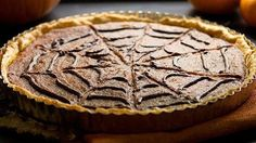 This easy pumpkin tart is dressed for October with a spooky spiderweb! Can make it smooth for ANY TIME!