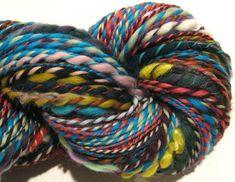 Handspun Yarn Waste Not Want Not 170 yards rainbow yarn knitting crochet supplies waldorf doll hair art yarn merino wool