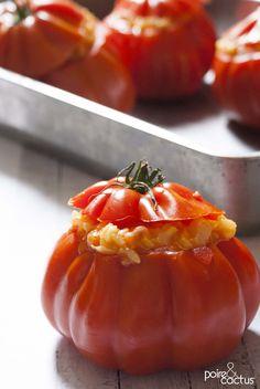 Tomates coeur de boeuf farcies au risottos crevettes http://poiretcactus.com/tomates-coeur-de-boeuf-farcies-au-risotto-crevettes/