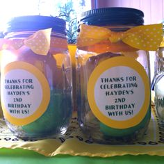 Homemade green and yellow playdoh for Hayden's John Deere birthday party. They were party favors for his guests.