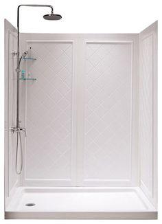 slimline single threshold shower base and shower backwalls kit shower stalls and kits inc boys bath - Shower Stalls