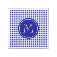 Navy Blue and White Gingham, Your Monogram Paper Napkins