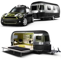 A collaboration between MINI, Airstream trailers and Danish furniture designers Republic of Fritz Hansen has resulted in this hip, beach-ready design study made up of a modified MINI Cooper S Clubman and a customized long Airstream trailer. Glamping, Vw Camping, Airstream Camping, Kombi Motorhome, Camper Trailers, Mini Travel Trailers, Arne Jacobsen, Cool Campers, Happy Campers
