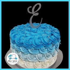 Blue Reverse Ombre Buttercream Rosette Cake – Blue Sheep Bake Shop