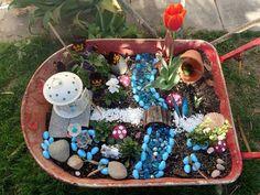 Fairy garden in wheelbarrow