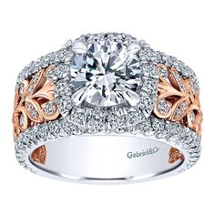 Gabriel & Co. - Looking for something different? Try this Contemporary White/Pink Gold Diamond Halo Engagement Ring.
