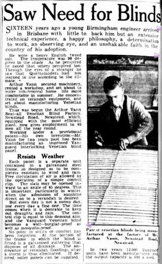 Vanguard Blinds Article - The Courier Mail (Brisbane) 1940 Brisbane, Birmingham, Philosophy, Blinds, Faith, History, Historia, Shades Blinds, Blind