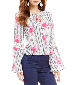 Takara FauxWrap Front Floral and Striped Top #Dillards