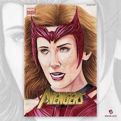 No more Mutants. Drawing another commission today. This one is of marvel's cinematic universe, the Scarlet Witch. (Elizabeth Olsen) I drew this on an Avengers Blank Sketch Cover with 2B pencil, various markers and Rembrandt colour pencils. 2b Pencil, Elizabeth Olsen, Scarlet Witch, Rembrandt, Marvel Cinematic Universe, Colored Pencils, Duke, Comic Art, Markers