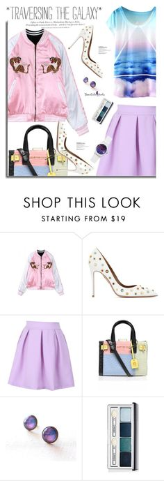 """""""Beautifulhalo.com: *Traversing the galaxy*"""" by hamaly ❤ liked on Polyvore featuring Aquazzura, Kurt Geiger, Clinique, H&M, women's clothing, women, female, woman, misses and juniors"""