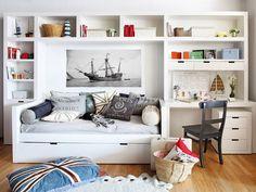 Un dormitorio urbanita y aventurero