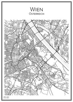 Vienna Map, City Map Poster, Line Illustration, Illustrations, Paris Map, Vintage Maps, City Maps, Tour Eiffel, Black And White Pictures