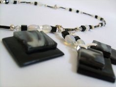#Moonstone and #Black Cubes #Necklace and #Earring Set #thecraftstar $24.95