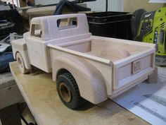 Toy Construction Ford pickup 1955 glueing it up and getting ready for some wheels Wooden Toy Cars, Wood Toys Plans, Construction Machines, Sand Pit, Easy Woodworking Projects, Home Projects, Annie, Toy Chest, Kids Toys