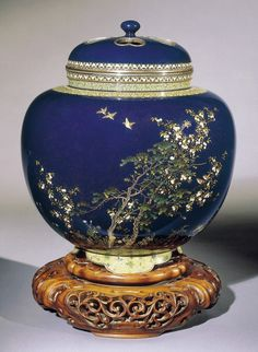 Incense Burner (Koro)  -  Meiji, circa 1900-05 - with the silver wire seal of Ando Jubei  - cloisonné enamels worked in gold and silver wire, silver rim and foot, carved wood stand | Khalili Collections | Japanese Art of the Meiji Period | Collections | Khalili