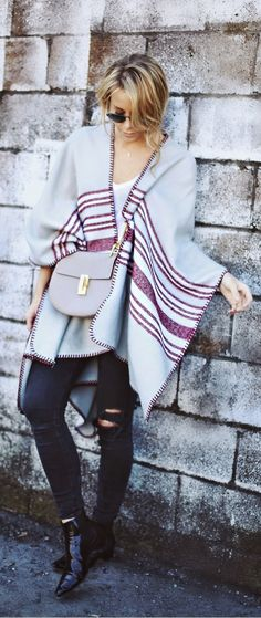 Breezy Oversized Poncho and Ripped Denim by Happily Grey