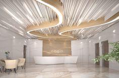idea Woman Dresses woman in white dress Interior Design Companies, Office Interior Design, Office Interiors, Interior And Exterior, Roof Design, Ceiling Design, Reception Desk Design, Counter Design, Lobby Design