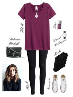 """""""🍇"""" by xofashionismylovexo ❤ liked on Polyvore featuring Rebecca Minkoff, Monki, H&M, Converse, Daniel Wellington, Christian Dior and Tiffany & Co."""
