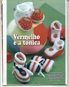 Receita Tricô Fácil Revista Moda Crochê Sapatinhos Crochê e Tricô 30 Lindos sapatinhos de Tricô e crochê para o enxoval dos sonhos de...