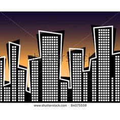 City Town Graphics Typography Design | Retro Style City At Sunset - Vector Illustration High Resolution JPEG ...
