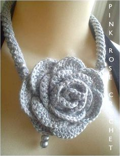 Pink Rose Crochet: Colar Rose Necklace