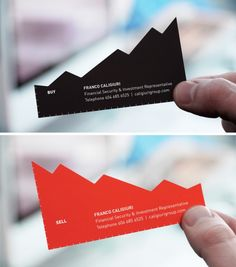 Ideally, you can trust your financial advisor to sell before a downturn and buy stocks before they go up. And so, a double-sided business card to communicate this dual promise.